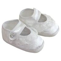 Alkalmi szatén újszülött mamusz, keresztelő cipő, kocsicipő, puhatalpú baba cipő - Csipkés (Fehér, 15)