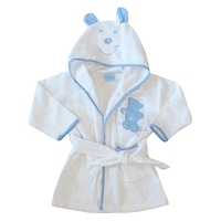 Gyerek fürdőköntös, frottír fürdő köpeny kapucnival - Füles mackó (Kék, fehér, 67 (6 hó))
