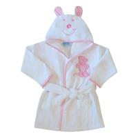 Gyerek fürdőköntös, frottír fürdő köpeny kapucnival - Füles mackó (Rózsaszín, fehér, 67 (6 hó))