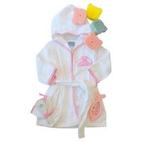 Gyerek fürdőköntös, frottír fürdő köpeny 9 db-os szettben (köntös, vízhőmérő, hajkefe, szivacs játék, mosdókesztyű) - (Rózsaszín, fehér, 0/6 hó)