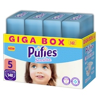 Pufies Sensitive Pelenka, 5 Junior, Monthly Box, 11-20 kg, 148 darab