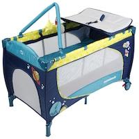 Сгъваема кошара Wunderkid Space, 2 нива, Маса за повиване и играчки, Тъмносиня/Зелена