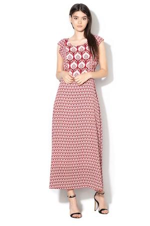 Silvian Heach Collection, Tinggi bővülő ruha virágmintával, Piros/Rózsaszín, XS