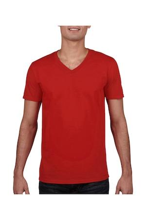 Férfi póló rövid ujjú Gildan Gildan Mens Softstyle® V-Neck T-Shirt Piros, Piros