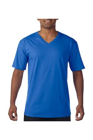 Férfi póló rövid ujjú Gildan Premium Cotton Adult V-Neck T-Shirt Királykék, Királykék