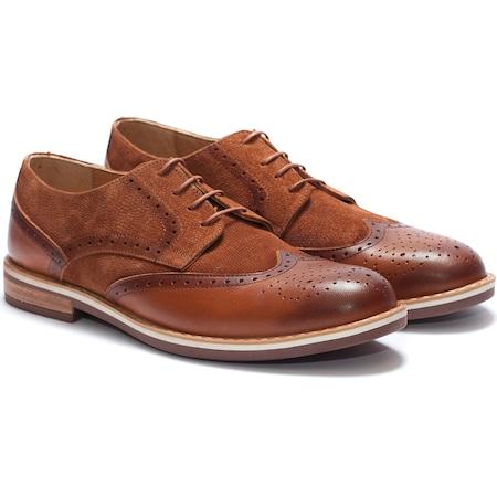 Pantofi barbati din piele naturala Eddie aspect brogue 44, Maro
