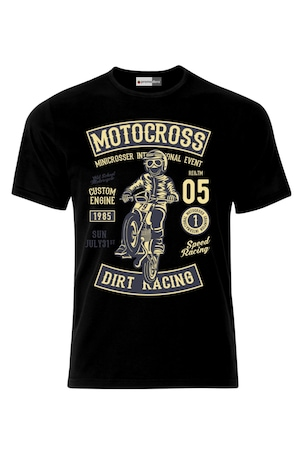 Мъжка Тениска VG Style Рокер Моторист Мотокрос Dirt Racing Motocross Motor Motorcycle, Черен