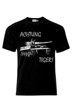 Мъжка Тениска VG Style Танк Тигър Achtung Tiger German Army Tank , Черен