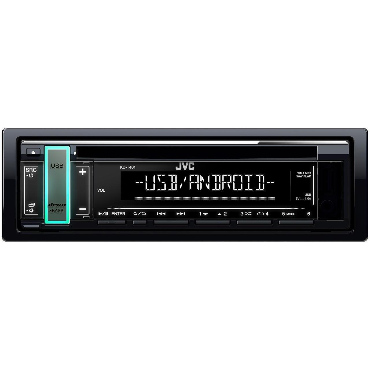 Fotografie Radio CD auto JVC KD-T401, 4x50W, USB, AUX, subwoofer control, accent key, culori variabile