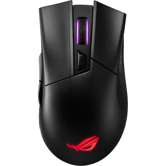 Fotografie Mouse gaming wireless ASUS ROG Gladius II Wireless, RGB, switch-uri Omron, 16000 dpi, 6 butoane, conectivitate wireless duala (2.4GHz/Bluetooth), iluminare Aura Sync, Negru