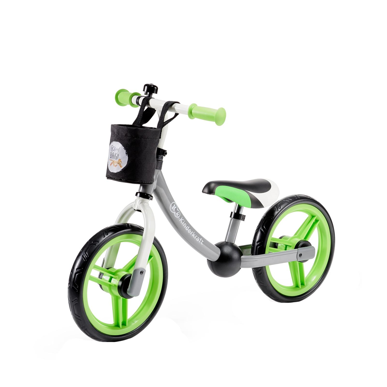 "Fotografie Bicicleta fara pedale Kinderkraft, 12"", 2Way Next, gri/verde"