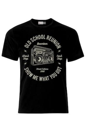 Мъжка Тениска VG Style Касетофон Ретро Музика Диско Хип-Хоп Рап Old School Boombox Cassette Recorder, Черен, S