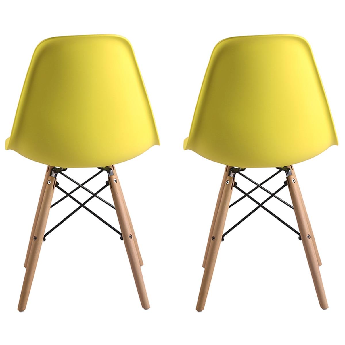 Homemania Clio Nappali szék szett, 2 darab, polipropilén keret, fa lábak, Sárga