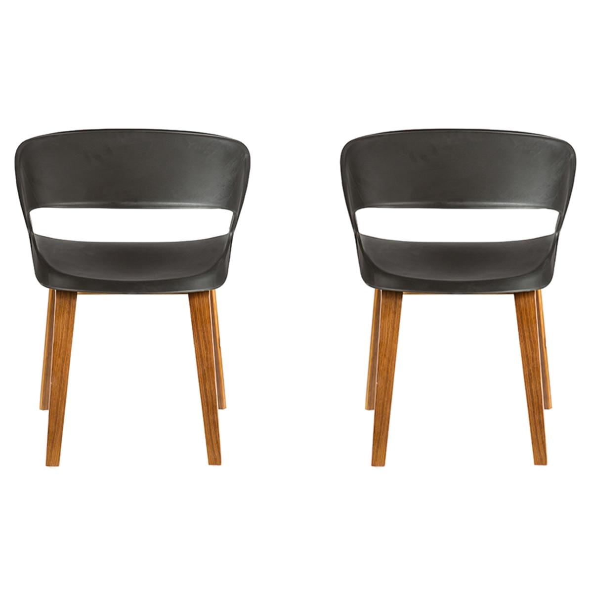 Homemania Demetra Nappali szék szett, 2 darab, polipropilén váz, fa lábak, Sötétbarna