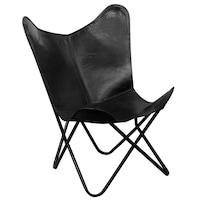 Стол Пеперуда vidaXL, истинска кожа, черен, 74х66х90 см
