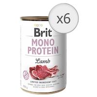 Мокра храна за кучета Brit Mono Protein, Агнешко, 6 бр x 400 гр