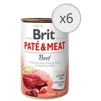 Мокра храна за кучета Brit Pate & Meat, Говеждо, 6 бр x 400 гр