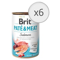 Мокра храна за кучета Brit Pate & Meat, Сьомга, 6 бр x 400 гр