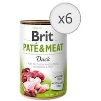 Мокра храна за кучета Brit Pate & Meat, Патешко, 6 бр x 400 гр
