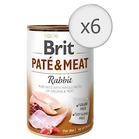 Мокра храна за кучета Brit Pate & Meat, Заешко, 6 бр x 800 гр