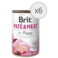 Мокра храна за кучета Brit Pate & Meat, Puppy, 6 бр x 400 гр