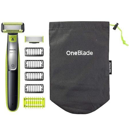 Philips QP2630/30 OneBlade Elektromos hibrid borotva, hajvágó és testszőrvágó, 4 borostafésű, 2 penge, Fekete/Zöld