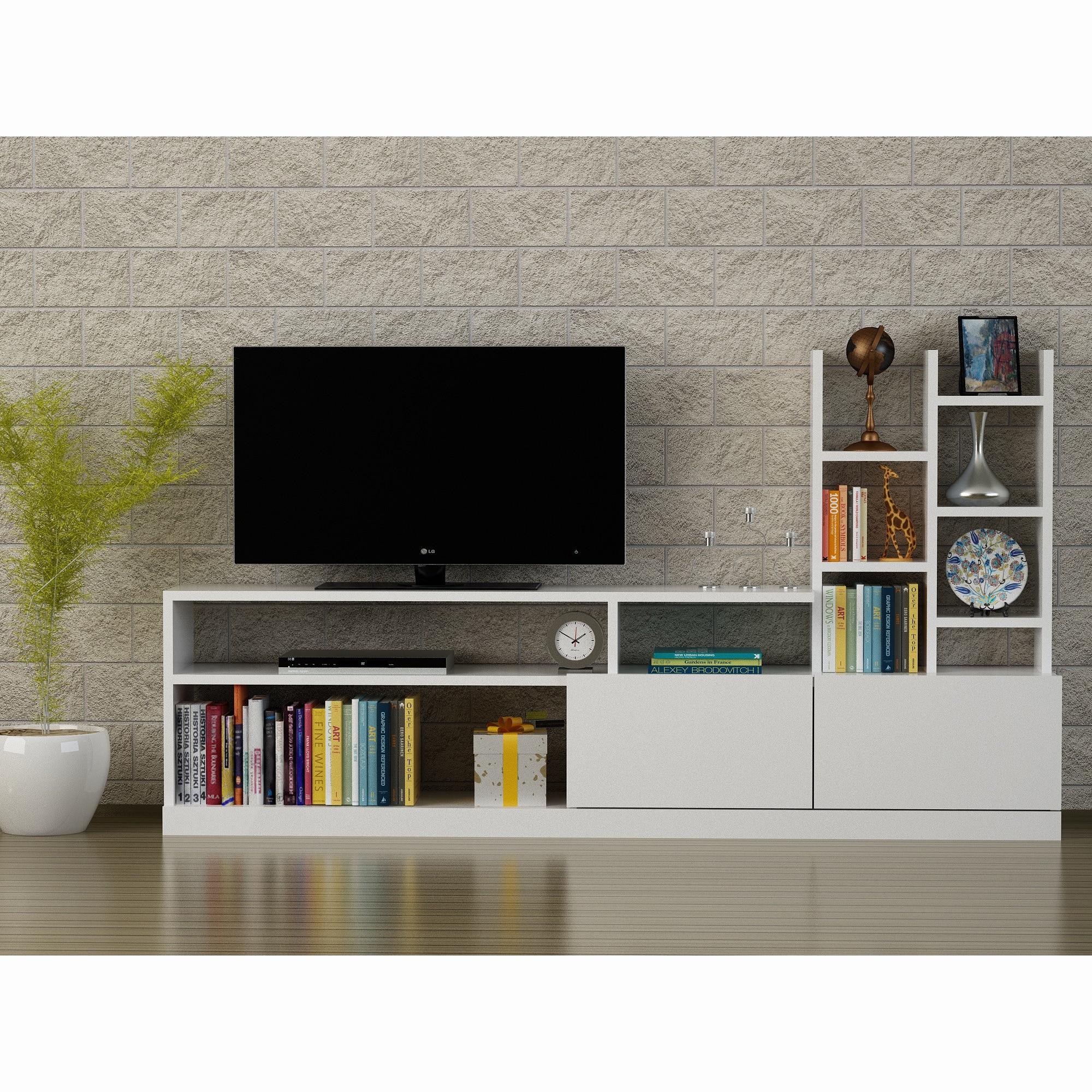 Fotografie Comoda TV Furny Home, 165x91.3x25 cm, pal melaminat alb