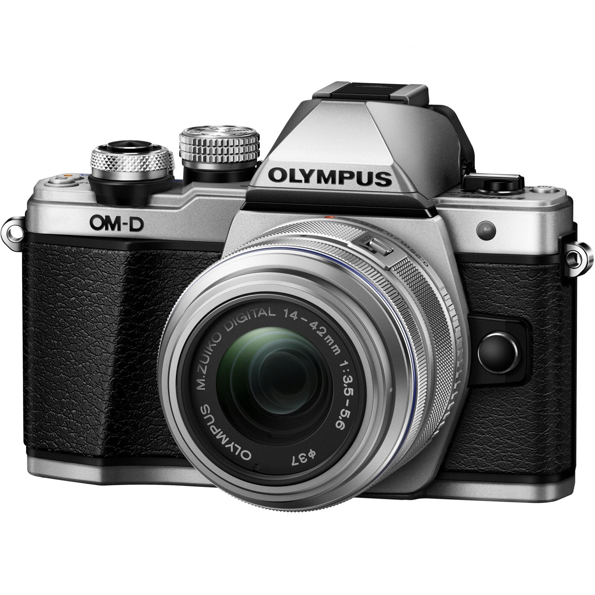 Fotografie Aparat foto mirrorless Olympus OM-D E-M10II 1442 IIR, Silver + Obiectiv 14-42mm EZ-M1442 IIR, Silver