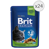 Мокра храна на котки Brit Sterilised, Пилешко, 24 x 100 гр