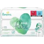 Мокри кърпички Pampers Aqua Pure, 3 пакета, 144 броя, 99% вода, органичен памук