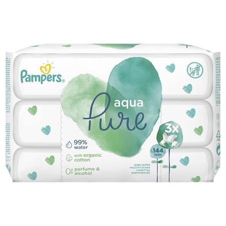Мокри кърпички Pampers Aqua Pure, 3 пакета, 144 броя