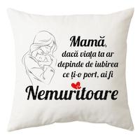 """Perna personalizata patrata alba, model """"Mama Nemuritoare"""", poliester, 40x40 cm"""