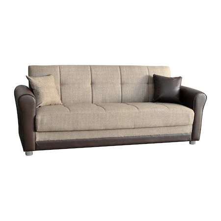 Разтегателен диван с ракла тип клик-клак Sani Fabel, бежово/кафяв, 220 см