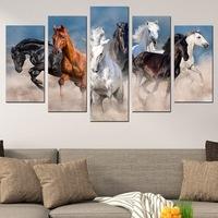 Картина-пано за стена Iwidecor, 5 части,Диви коне, PVC 5мм., Размер S 108x60 см.