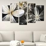 Картина-пано за стена Iwidecor, 5 части,Абстрактни цветя черно-бяло, PVC 5мм., Размер S 108x60 см.