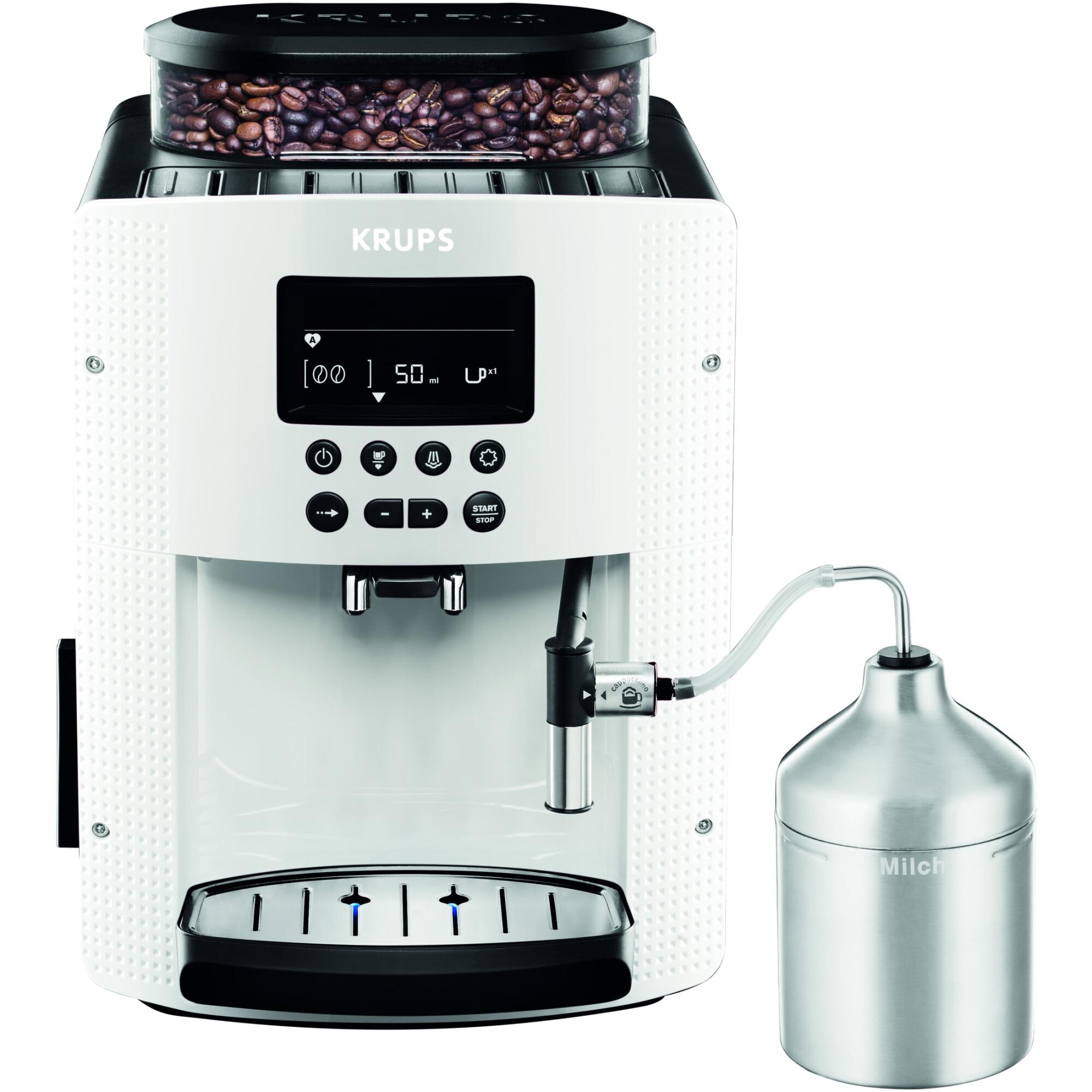 Fotografie Espressor automat Krups Espresseria Automatic EA8161, 1450W, 15 bar, 1.7 l, Alb/Negru