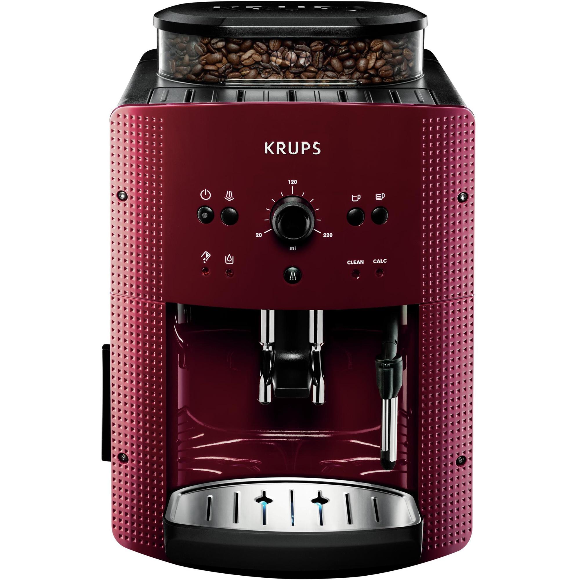Fotografie Espressor automat Krups Espresseria Automatic EA810770, 1400W, 15 bar, rezervor boabe 260g, 1.7 l, Rosu