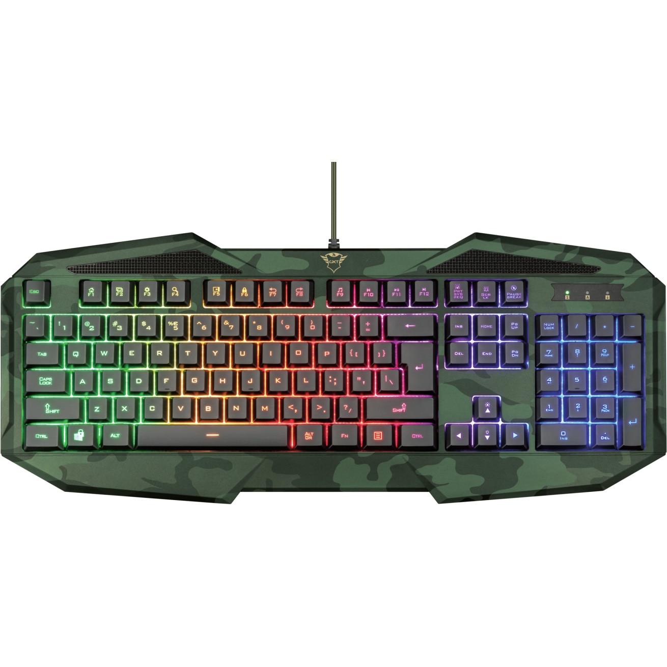 Fotografie Tastatura gaming Trust GXT 830 RW-C Avonn, iluminare rainbow, Camo