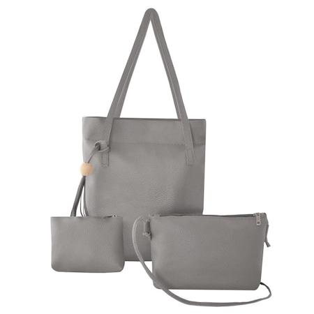 Palmonix 3 elegáns bőr táska, különböző méretű, szürke színű