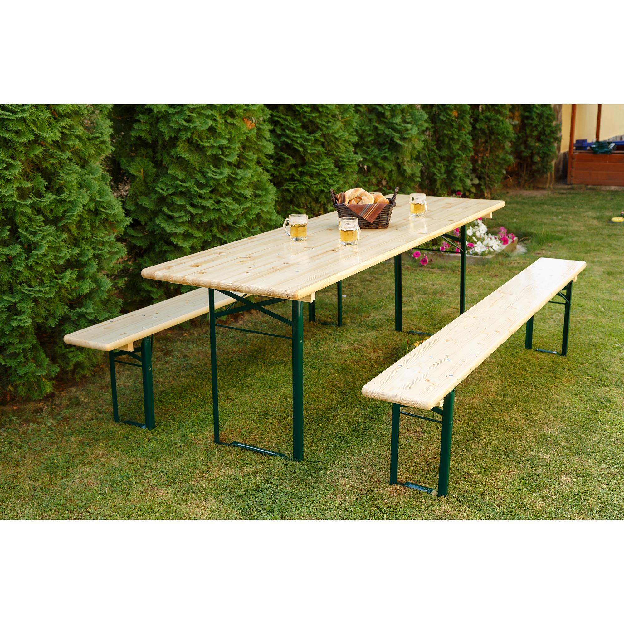 Fotografie Set mobilier gradina/berarie lemn natur, masa 70x220 cm, 2 banci 25x220 cm