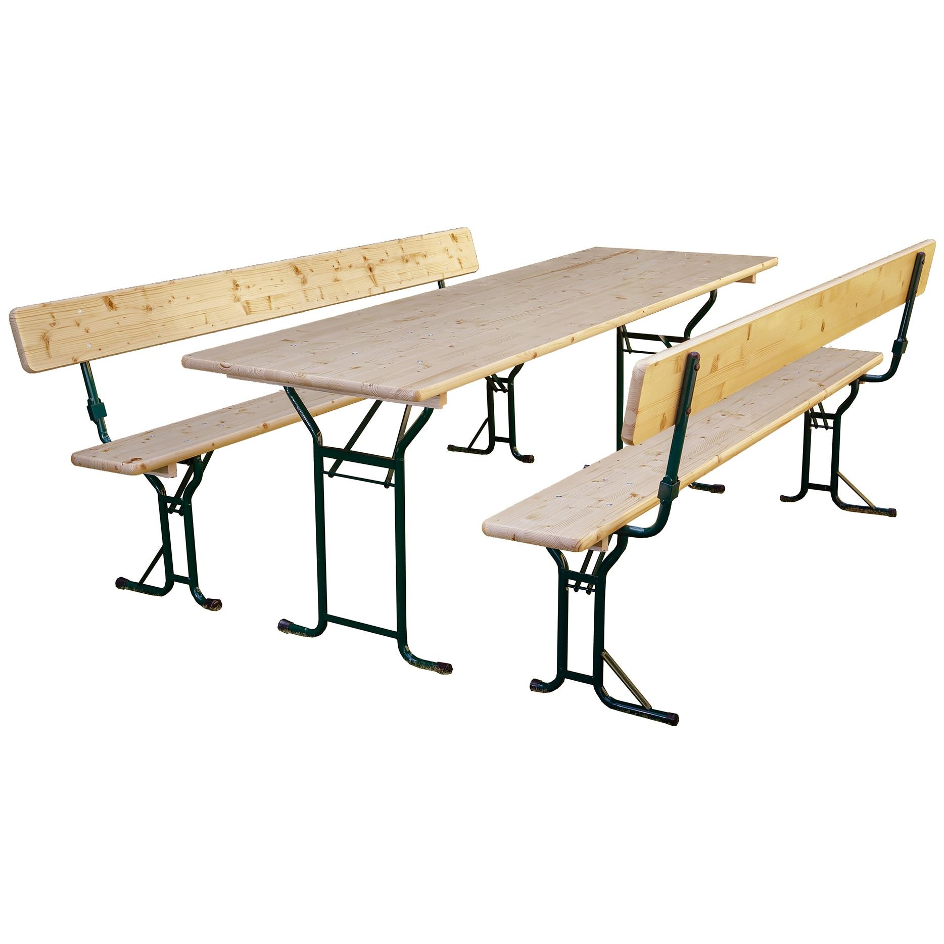 Fotografie Set mobilier gradina/berarie lemn natur, masa 70x220 cm , 2 banci cu spatar 25x220 cm