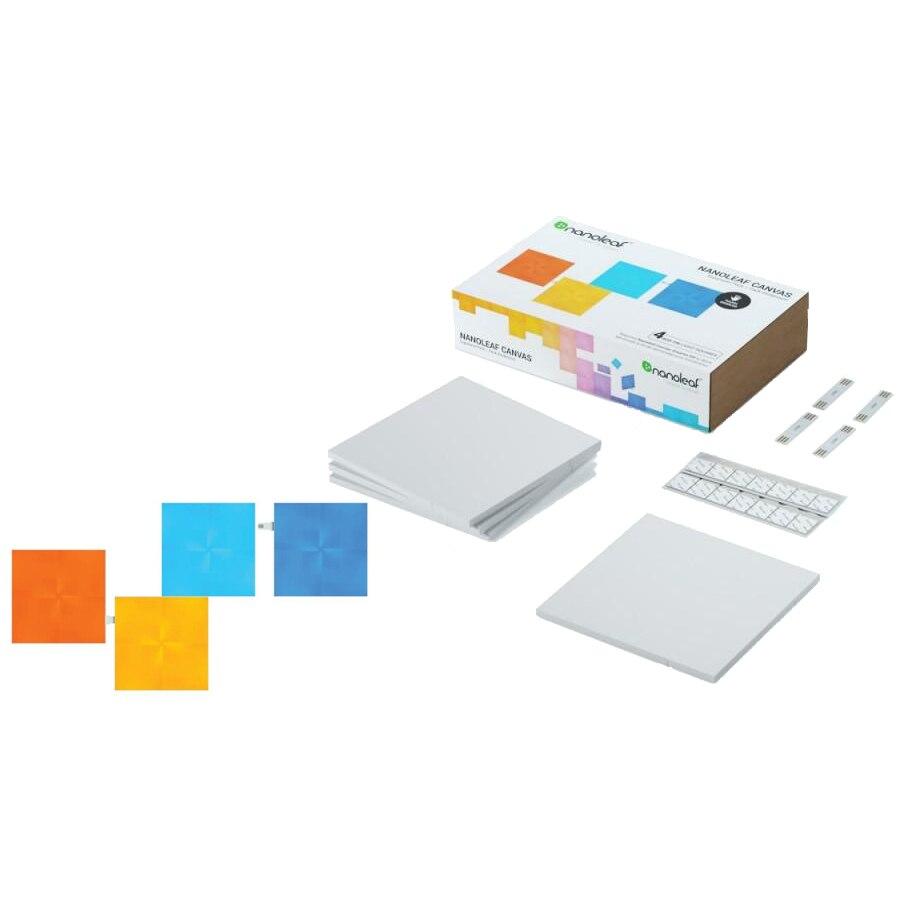 Fotografie Panouri luminoase modulare inteligente Nanoleaf, pentru extindere kit de baza Canvas Rhythm edition, LED RGBW, 4 buc