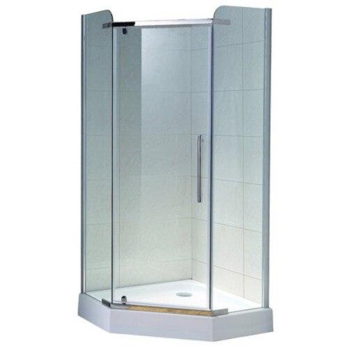 Fotografie Paravan de dus pentagonal Belform Clear, profil cromat, batant, geam 8 mm, tratament Nano Glass., 80x80 cm