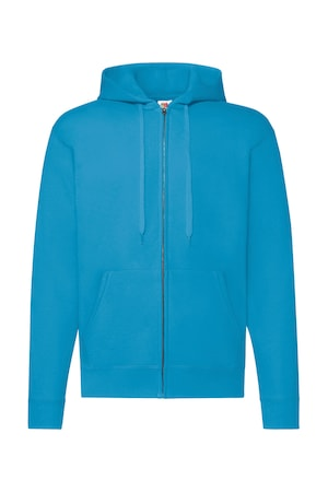 Férfi pulóver Kapucnis Hosszú ujjú Fruit of the Loom Classic Hooded Sweat Jacket Azur kék XL INTL