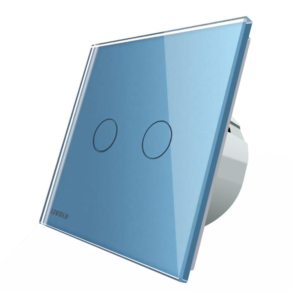 Fotografie Intrerupator dublu cap-scara cap-cruce cu touch Livolo, din sticla, Wi-Fi, Albastru
