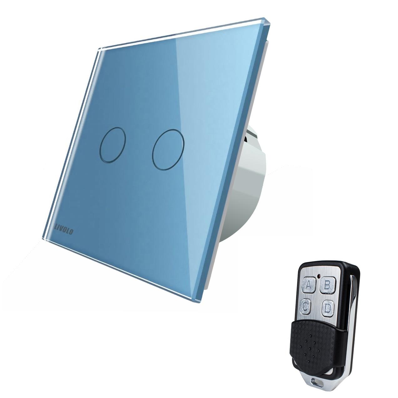 Fotografie Intrerupator dublu cu touch Livolo, din sticla, Wi-Fi, telecomanda inclusa, Albastru
