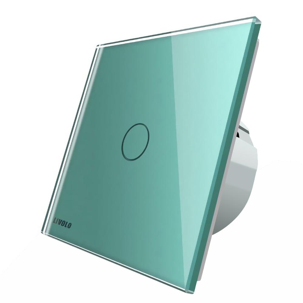 Fotografie Intrerupator cu timer Livolo, din sticla, cu touch, Verde