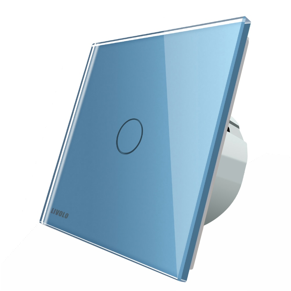 Fotografie Intrerupator simplu cap-scara cap-cruce cu touch Livolo din sticla, Wi-Fi, Albastru