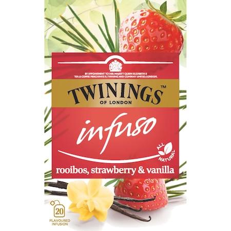 Ceai Twinings - Infuzie Rooibos, Capsuni si Vanilie, 20 pliculete, 40 gr.