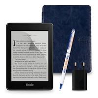 Комплект: eBook четец Kindle Paperwhite (2018), 8GB, Черен + Калъф Classic, Син